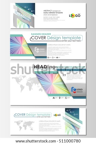 Social media and email headers set, modern banners. Business cover template, easy editable vector, flat layout in popular sizes. Colorful background, abstract waves, lines, curves. Motion design.