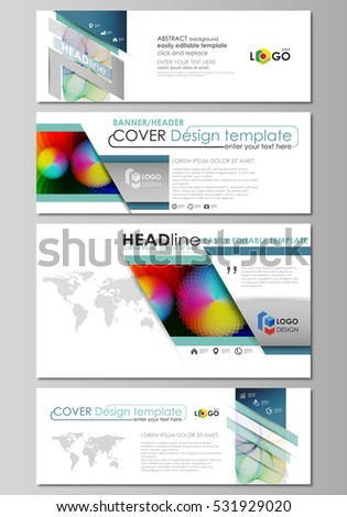 Social media and email headers set, modern banners. Business templates. Flat vector layout in popular sizes. Colorful design, overlapping geometric shapes, waves forming abstract beautiful background.