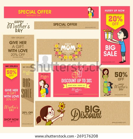 Social media and marketing header or banner set of Big Sale with discount offer for Happy Mother's Day celebration. - stock vector