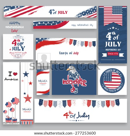 Social media and marketing headers, ads, post or banners in national flag color for 4th of July, American Independence Day celebration. - stock vector