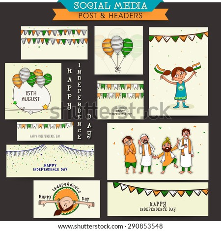 Social media and marketing post, headers, banners or ads for Happy Indian Independence Day celebration. - stock vector
