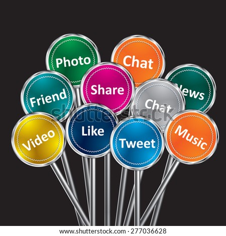 Social media and network concept, group of color signs with social media services. - stock vector