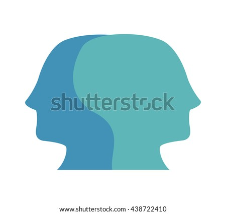 Social media and network concept. human head icon. Vector graphi