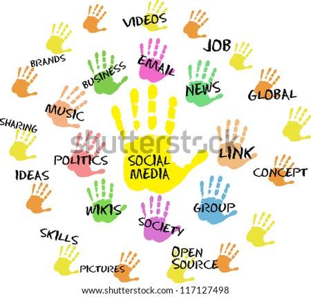 Social media and network design - stock vector