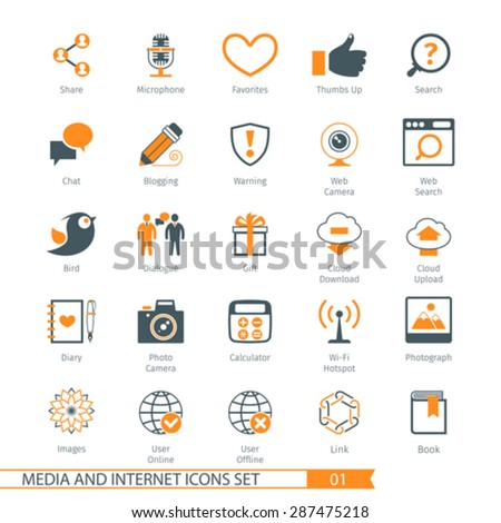 Social Media And Network Icons Set 01 - stock vector