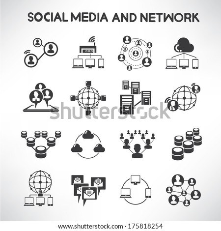 social media and network icons set, information technology - stock vector