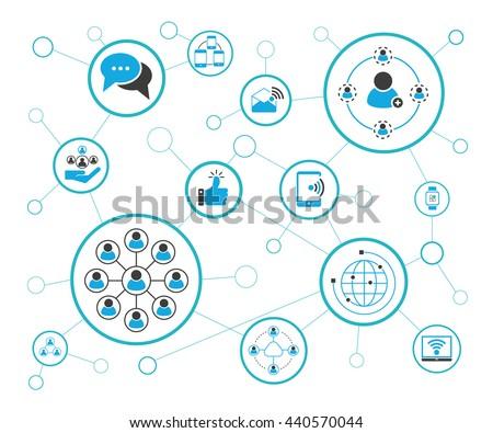 social media and network, vector illustration - stock vector