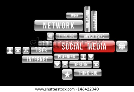Social media and web business media grey and red signs over black background.  Vector illustration layered for easy manipulation and custom coloring. - stock vector