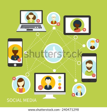 Social media avatar network connection concept in digital device. People in a social network. Concept for social network in flat design. Globe with many different people's faces - stock vector