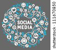 Social media, background of the icons vector - stock photo