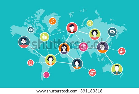 Social media background - people connecting through modern technology devices - stock vector