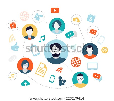 Social media background with people connecting through modern technology devices. - stock vector