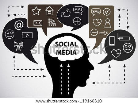 Social media background with silhouette and speech bubbles concept - stock vector