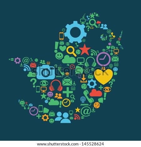 Social Media Bird - stock vector