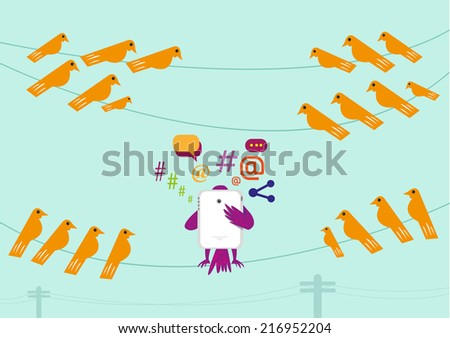 Social Media bird gets attention from other curious birds - stock vector