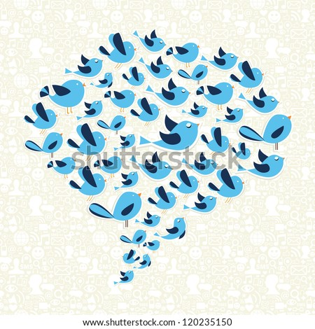 Social media birds viral marketing campaign in speech bubble. Vector file layered for easy manipulation and custom coloring. - stock vector