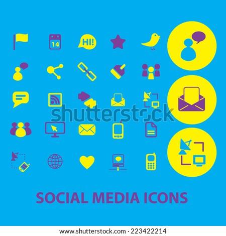 social media, blog, community icons, signs, symbols, illustrations set, vector - stock vector