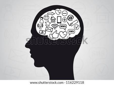 Social media brain concept background - stock vector
