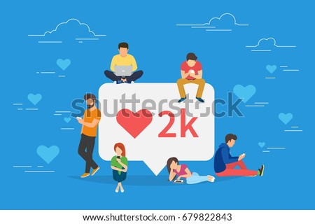 Social media bubble with red heart symbol flat vector illustration of young people using mobile gadgets such as laptop, tablet pc and smartphone for networking and collecting likes and comments.