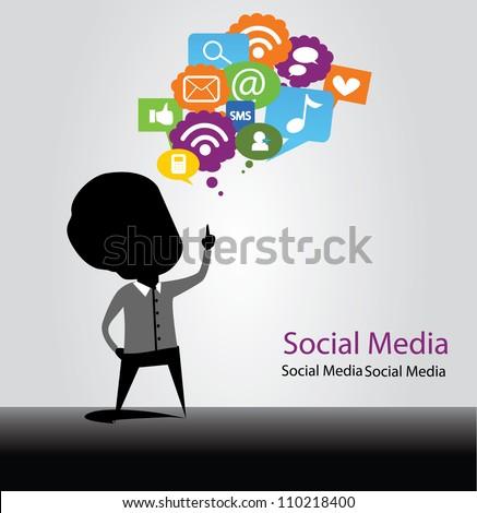 social media bulb - stock vector