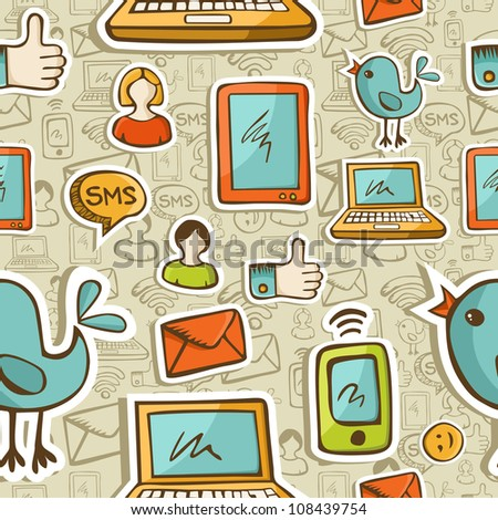 Social media cartoon icons colorful seamless pattern .Vector file layered for easy manipulation and custom coloring.