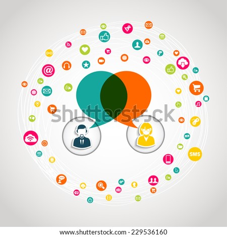 Social media chat diagram concept illustration. EPS10 vector file with transparency layers. - stock vector