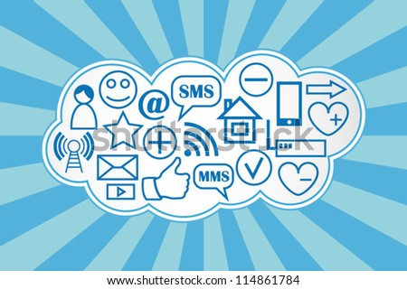 Social media cloud computing background - stock vector