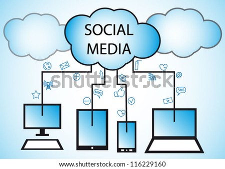 Social media & cloud computing concept modern plan - stock vector