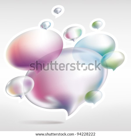 social media cloud of many colored speech bubbles - stock vector