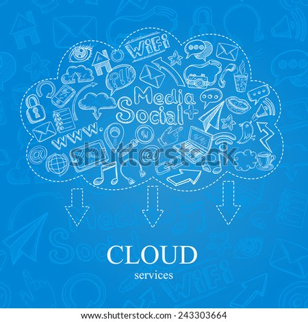 Social media cloud services concept with doodle icons set vector illustration - stock vector