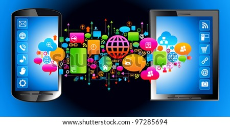 social media, communication in the global computer networks.     File is saved in AI10 EPS version. This illustration contains a transparency - stock vector