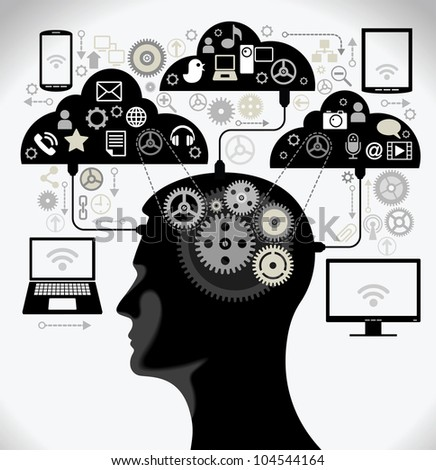 social media, communication in the global computer networks. silhouette of a human head with an interface icons. - stock vector