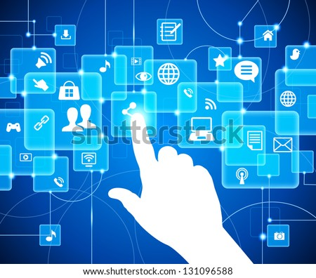 social media, communication in the global computer networks. The hand pushing one of several button. Choice concept. Vector illustration. File is saved in AI10 EPS version. - stock vector