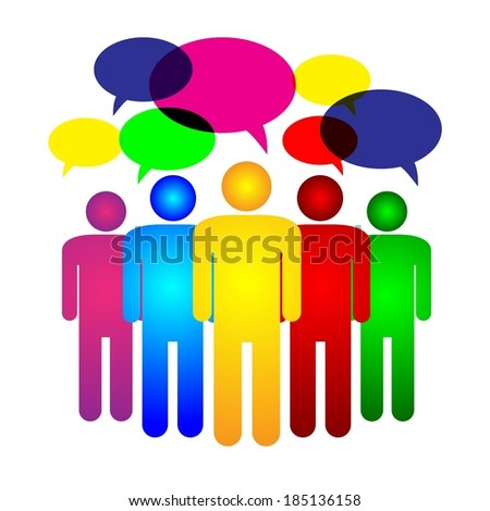 social media communication or talking, people conference, discussions and leadership  - stock vector