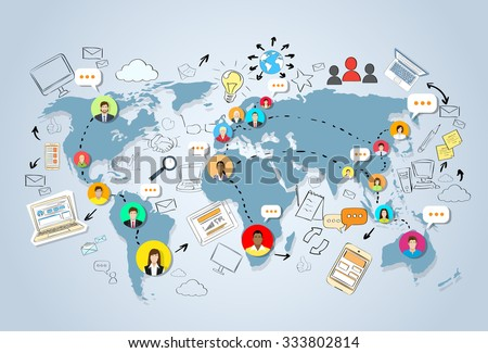 Social Media Communication World Map Concept Internet Network Connection People Doodle Hand Draw Sketch Background Vector Illustration - stock vector