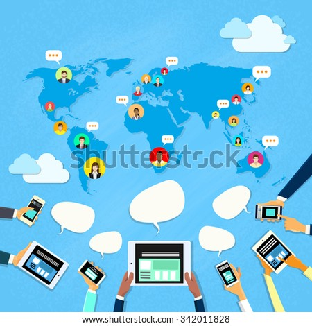Social Media Communication World Map Concept Internet Network Connection People Flat Vector Illustration - stock vector