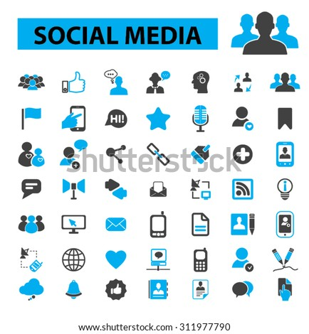 Social media, community, blog, network, user, avatar, organization, human resources, management, communication, friendship, partners, team, connection icons, signs vector