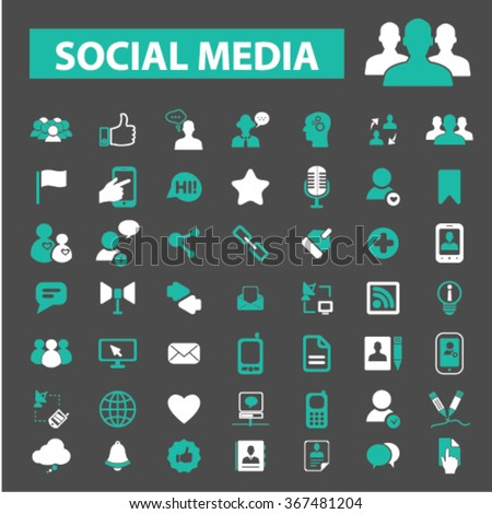Social media, community, blog, network, user, avatar, organization, human resources, management, communication, friendship, partners, team, connection icons, signs vector  - stock vector