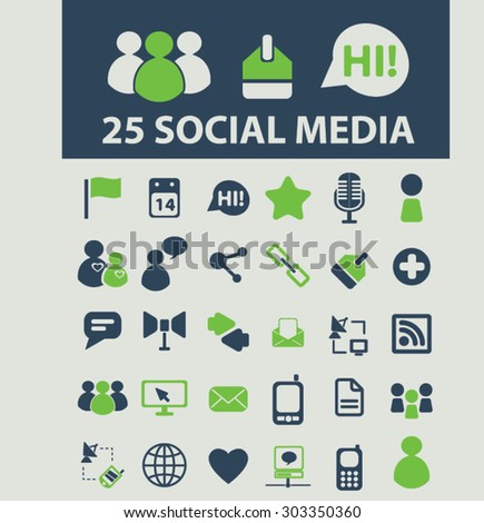 social media, community icons, signs, illustrations set, vector - stock vector