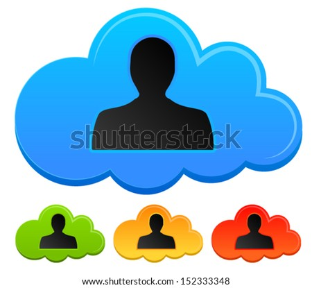 Social Media concept - Cloud with an avatar person silhouette in it