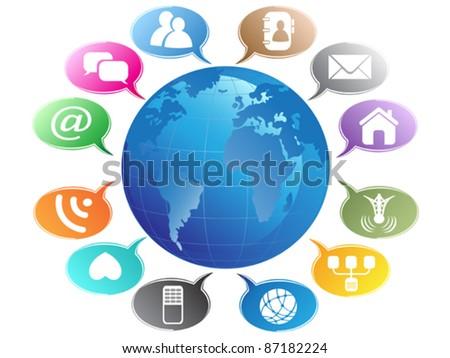 Social Media concept-Communication Globe - stock vector
