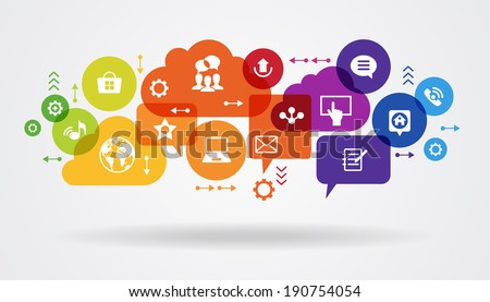 Social media concept. Communication in the global computer networks. Set of flat design concept icons for web and mobile services. File is saved in AI10 EPS version.  - stock vector