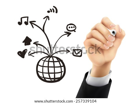 social media concept drawn by hand on a transparent board - stock vector