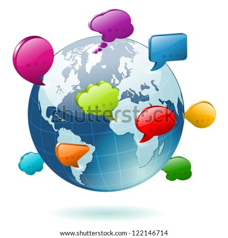 Social Media Concept - Earth with Icons Speech Bubbles, easy to change colors, vector illustration - stock vector