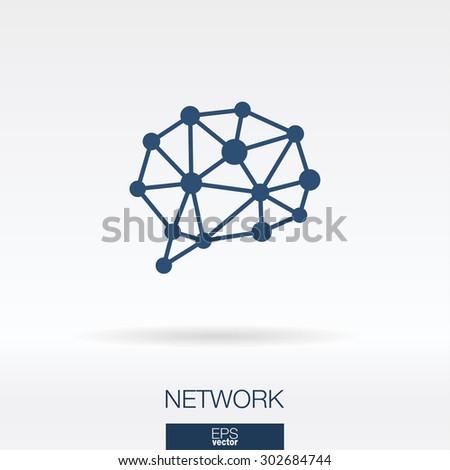 Social media concept icon. Network and speech bubble symbol. Vector illustration - stock vector