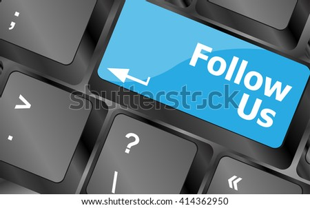 Social media concept: Keyboard with Follow Us button. Keyboard keys icon button vector. Keyboard Icon, Keyboard Icon Vector, Keyboard Icon Object, Keyboard Icon Art, Keyboard Icon App - stock vector