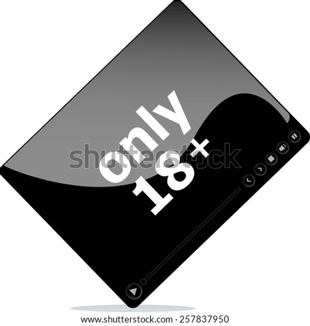 Social media concept: media player interface with only 18 word - stock vector