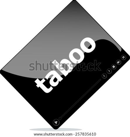 Social media concept: media player interface with taboo word - stock vector