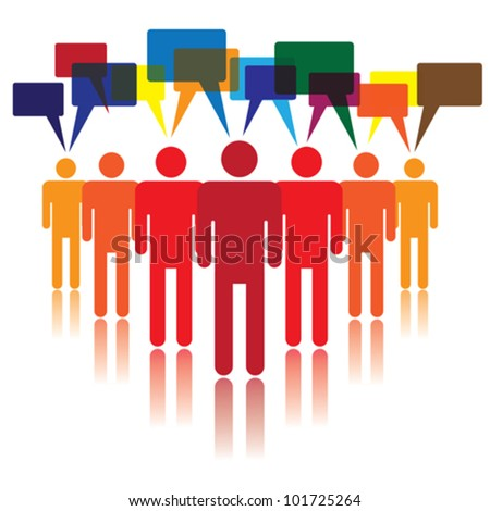 Social media concept of people talking and listening to each other - stock vector