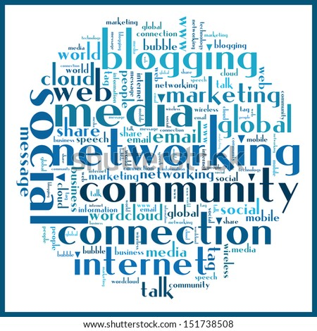Social media concept related words in tag cloud - stock vector